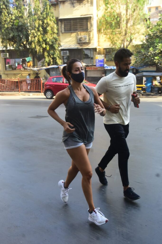 Malaika Arora snapped jogging in Bandra today.