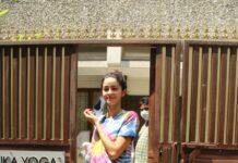 Ananya Pandey clicked at Gym class in Bandra
