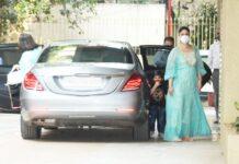 Kareena Kapoor with taimur ali khan & Babita Kapoor at karishma kapoor residence to celebrate karishma kapoor daughter Samiera Kapoor's birthday in Bandra